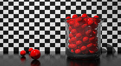 Still Life Photograph - Black And Red Take One by Meir Ezrachi