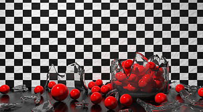 Still Life Photograph - Black And Red Take Three by Meir Ezrachi