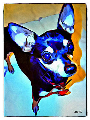 Photograph - Black And Tan Chihuahua - Down Here by Rebecca Korpita