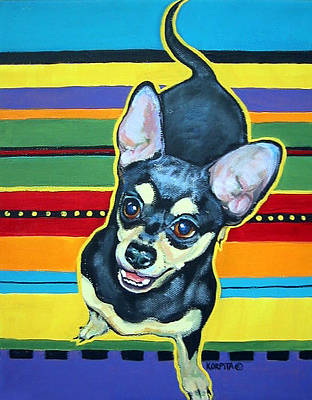 Chiwawa Portrait Wall Art - Painting - Black And Tan Chihuahua - Serape by Rebecca Korpita