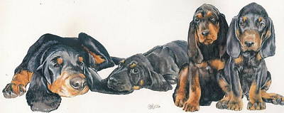Black And Tan Coonhound Puppies Art Print