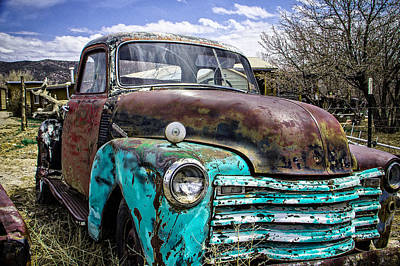 Grill Gate Photograph - Black And Turquoise Chevy Truck by Steven Bateson