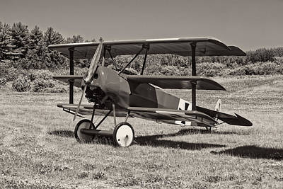 Black And White 1917 Fokker Dr.1 Triplane Red Barron Art Print by Keith Webber Jr