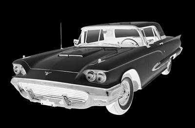 Antique Automobiles Photograph - Black And White 1958  Ford Thunderbird  Car Pop Art by Keith Webber Jr