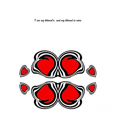 Concentration Digital Art - Hearts Black Whitered Art No.135. by Drinka Mercep