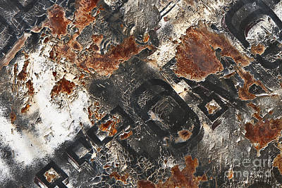 Photograph - Black And White And Rust All Over Abstract by Lee Craig
