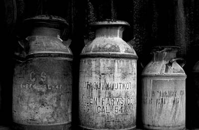 Photograph - Black And White Antique Milk Cans by Marilyn Diaz