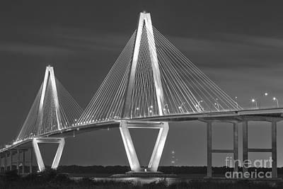 Photograph - Black And White Arthur Ravenel Bridge by Adam Jewell