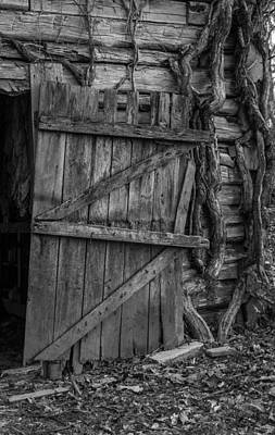 Photograph - Black And White Barn Door by Amber Kresge