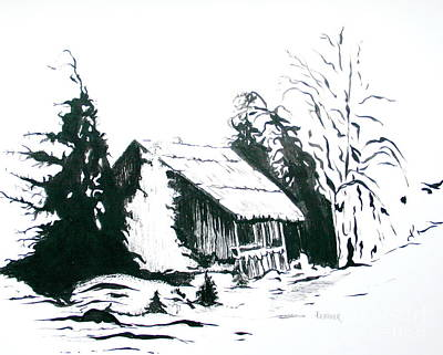Drawing - Black And White Barn In Snow by Joyce Gebauer