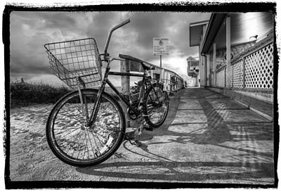 Black And White Beach Bike Art Print by Debra and Dave Vanderlaan