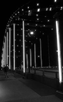 Photograph - Black And White Bridge At Night by Dan Sproul