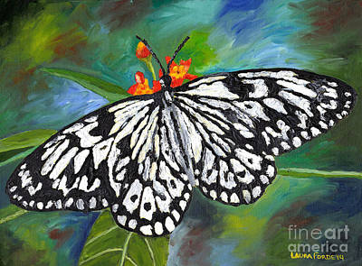 Painting - Black And White Butterfly by Laura Forde