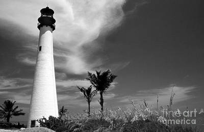 Cape Florida Lighthouse Photograph - Black And White Cape Florida Light by Skip Willits
