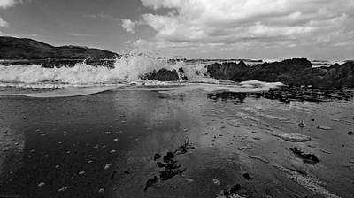Present Photograph - Black And White Mediterranean Beach - Black And White Caress by Pedro Cardona
