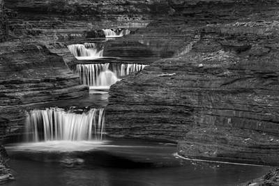 Watkins Glen New York Photograph - Black And White Cascade by Bill Wakeley