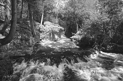 Limestone Digital Art - Black And White Cascade by Phill Doherty