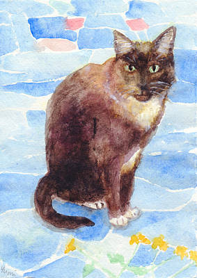 Painting - Black And White Cat On Blue Stone Tiles by Yumi Kudo