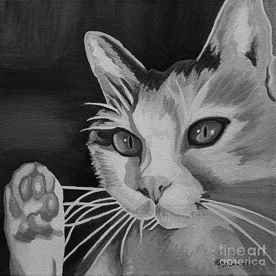 Painting - Black And White Cat by Robyn Saunders