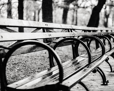 Black And White Central Park Bench In New York City Art Print by Lisa Russo