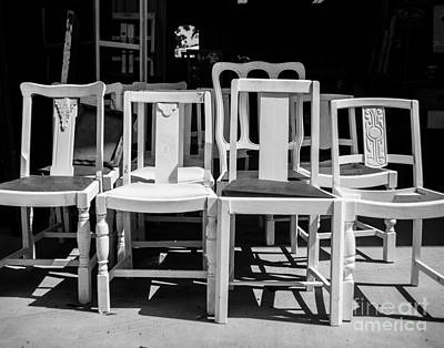 Black And White Chairs Art Print by Sonja Quintero