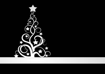 Digital Art - Black And White Christmas Card by Martin Capek