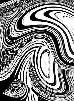 Concentration Digital Art - Black And White Circles Waves Wortex No.41  by Drinka Mercep