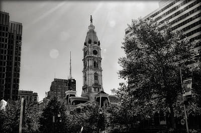Cityhall Digital Art - Black And White City Hall by Bill Cannon
