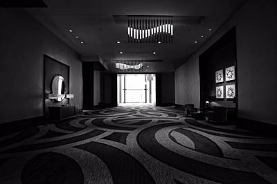 Country Music Hall Of Fame And Museum Photograph - Black And White Lobby In Nashville by Dan Sproul