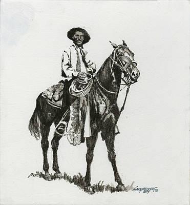 Black And White - Cowboy Art Print