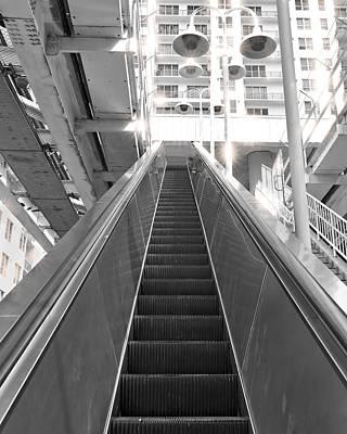 Black And White Escalator Art Print by Rudy Umans