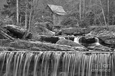 Photograph - Black And White Falls Below The Mill by Adam Jewell