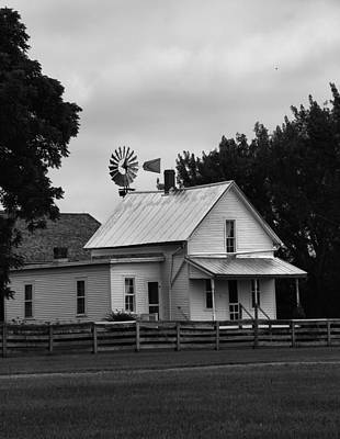 Black And White Farm And Windmill Art Print by Dan Sproul