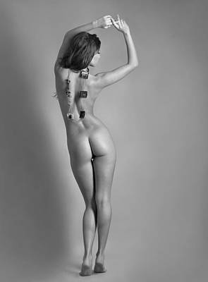 Black And White Figure Of A Beautiful Sexy Girl On Captured From The Back Original