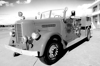 Photograph - Black And White Fire Truck by Lisa Cortez