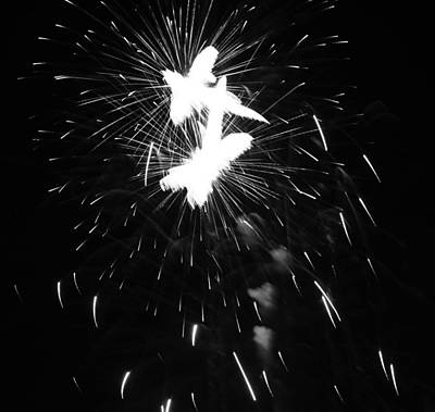 Black And White Fireworks Explosion Print by Dan Sproul