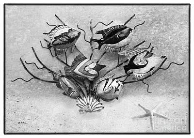 Metal Fish Art Photograph - Black And White Fish 2 by Betty LaRue