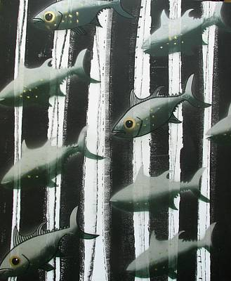 Painting - Black And White Fish by Joan Stratton