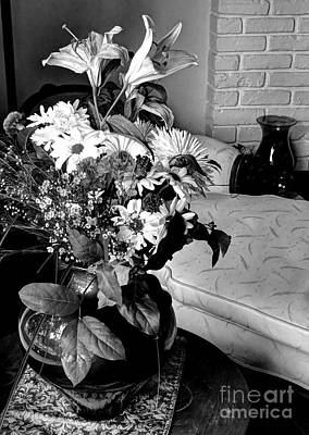 Photograph - Black And White Floral Chaise by Chris Anderson