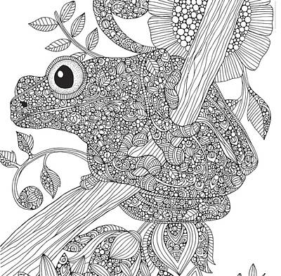 Frog Drawing - Black And White Frog by Valentina Harper