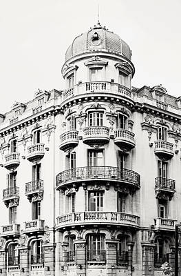 Photograph - Black And White Granada Ornate Building In Spain 2 by Angela Bonilla