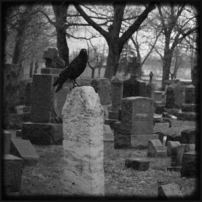 Black And White Graveyard Art Print by Gothicrow Images