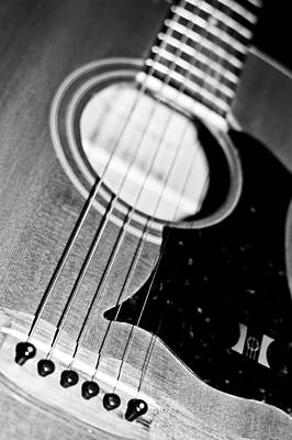 Photograph - Black And White Harmony Guitar by Athena Mckinzie