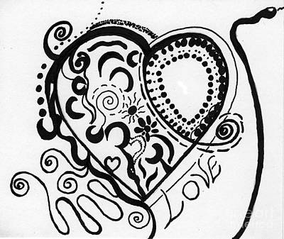 Drawing - Black And White Heart by Christine Perry