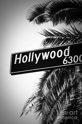 Photograph - Black And White Hollywood Street Sign by Paul Velgos
