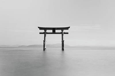 Floating Torii Photograph - Black And White Image Of A Floating by Philippe Widling