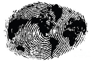 Fingers Digital Art - black and white ink print poster One of a Kind Global Fingerprint by Sassan Filsoof