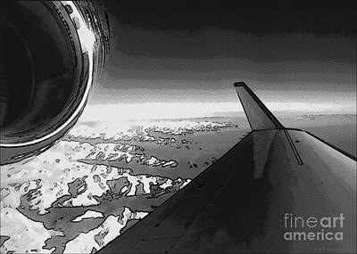 Digital Art - Jet Pop Art Plane Black And White  by R Muirhead Art