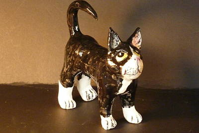 Customcrittersbydeb Sculpture - Black And White Kitty by Debbie Limoli