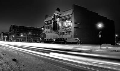 Black Light Paint Photograph - Black And White Light Painting Old City Prime by Dan Sproul